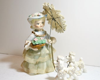 Napco Lady With Poodles and Parasol - 1950's 50s 1950s fifties mid century Lefton Collection Shabby Chic