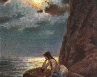Mermaid Painting on the Rocks Vintage Painting Ephemera Postcard.  Digital Download.