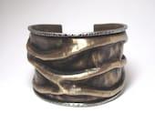 Mixed Metal Jewelry /Artlisan Jewelry /Brass Jewelry /Cuff Bracelet /Brass Cuff /Hammered Jewelry /Statement Jewelry /Large Bracelet