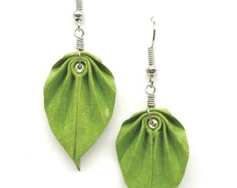 Green Origami Leaf Earrings