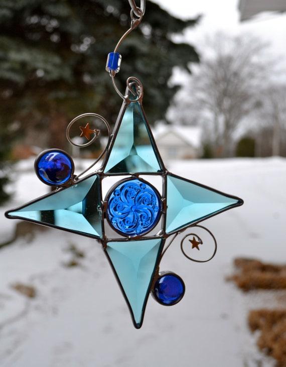Winter Blues Star Stained Glass Suncatcher