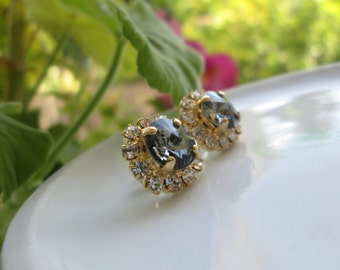 Black Diamond Smoky Gray Crystal Rhinestone Stud Earring - 14k Thick Gold Plated Post Earrings Real Swarovski Rhinestones