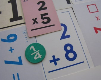 Vintage Math Number Flash Cards | Arithmetic Cards | LOT Pack of 10