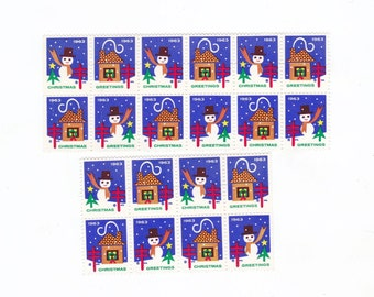 Lot of 20 Neat Christmas GREETINGS Cinderella Charity Postage Stamps Seals for Altered Arts Collage Card Making