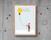 Children decor balloon Light bulb - Print 8 x 11.5