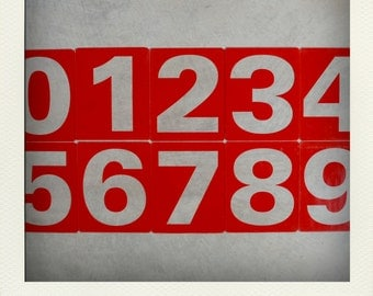 SALE 25% - Vintage L Plastic Gas Station Price Sign Number - Red - Your Choice