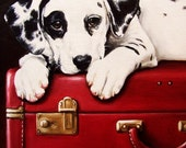 8x10 Dalmatian Dog on Vintage Red Suitcase Fine Art Giclee Print by LARA