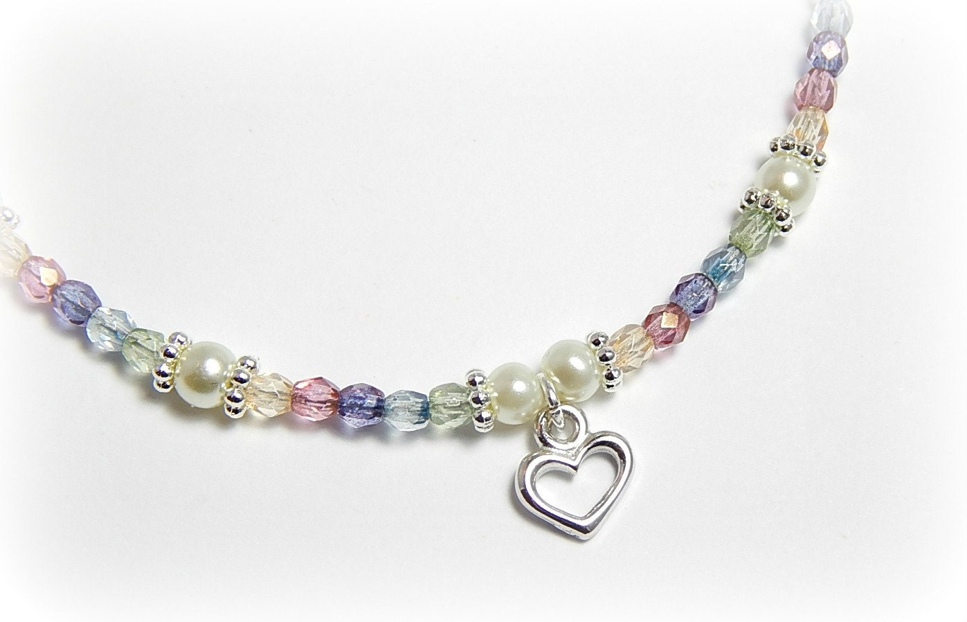 Sterling Silver Heart Anklet Heart Ankle Bracelet Pastel