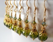 Olive Bridesmaid Jewelry Olive Green Crystal Earrings in Gold Beaded Earrings Wedding Jewelry Sets Bridesmaid Earrings Crystal Dangles