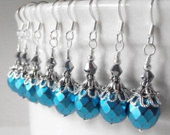 Bridesmaid Jewelry, Turquoise Dangle Earrings, Faceted Metallic Czech Glass Earrings, Antiqued Wedding Jewelry, Malibu Bridesmaid Earrings