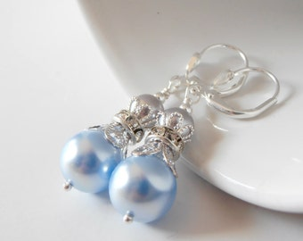 Light Blue Bridesmaid Jewelry Blue and Gray Swarovski Pearl Earrings Beaded Dangly Earings Handmade Wedding Jewellery Bridal Party Gifts