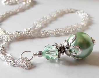Bridesmaid Necklaces, Summer Wedding Jewelry Sets, Bridesmaid Jewelry, Mint Green Pearl Pendant Necklace with Crystal, Beaded Jewellery