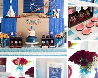 nautical party decorations sailboat birthday party decor ahoy it a boy baby shower - Nautical Party Decorations