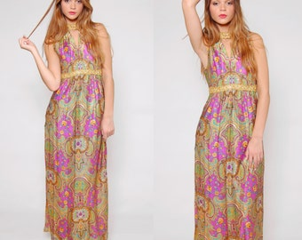Vintage 60s PSYCHEDELIC Maxi Dress Sleeveless  Empire Waist PAISLEY Print MOD Embellished Dress