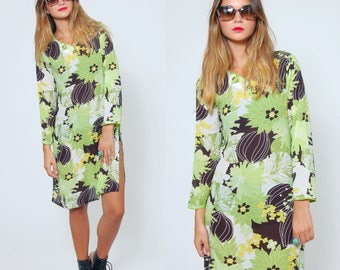 SALE Vintage 90s FLORAL Tunic GREEN Asian Floral Print Long Sleeve Mini Dress Hippie Dress Cover Up