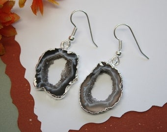 Geode Earrings, Crystal Slice Earrings, Agate, Druzy Silver Earrings, GSE6