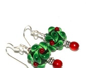Christmas Jewelry, Lampwork Earrings Christmas Earrings Holiday Jewelry, Christmas Holly, Sterling Silver, Red Green Earrings, USA Made