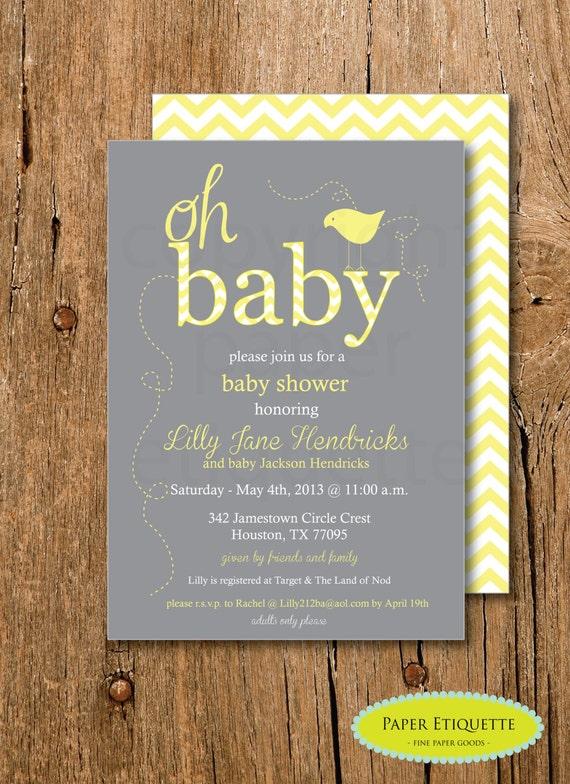 Yellow and Gray Baby Shower Chevron Invitation Gender
