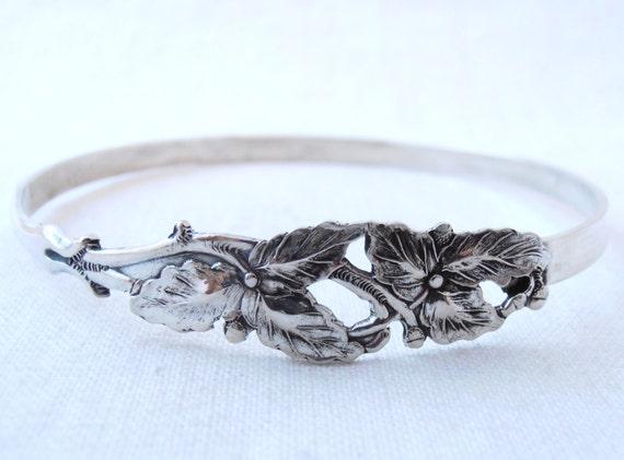vintage sterling silver spoon floral bracelet
