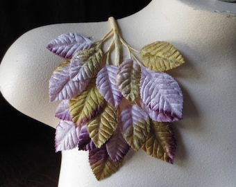 Velvet Leaves in Lilac, Purple & Gold Ombre for Bridal, Boutonnieres, Headbands, Costume Design, Millinery ML 61