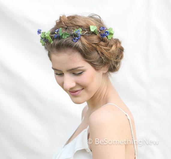 Flower Crown Purple: Woodland Rustic Purple And Green Flower Crown By
