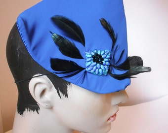 BLUE Triangle Fascinator with Feathers and Beads