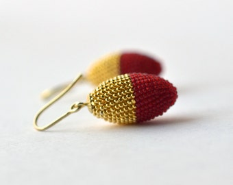 chinese wedding  -- olive earrings  gold red