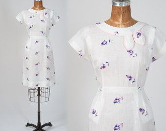 1950s White Linen Dress, 50s Vintage  Embroidered Linen Day Dress, Lavender Flowers, Women's Clothing, Dresses,