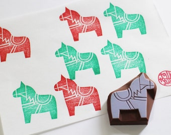 dala horse rubber stamp. swedish horse hand carved stamp. woodland animal stamp. birthday christmas scrapbooking. holiday gift wrapping. no1