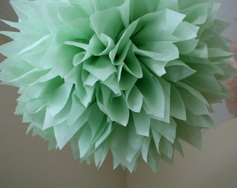 CELEDON / tissue paper pompom / vintage romantic boho wedding decorations st patricks day sage celery green pompoms decor baby boy shower