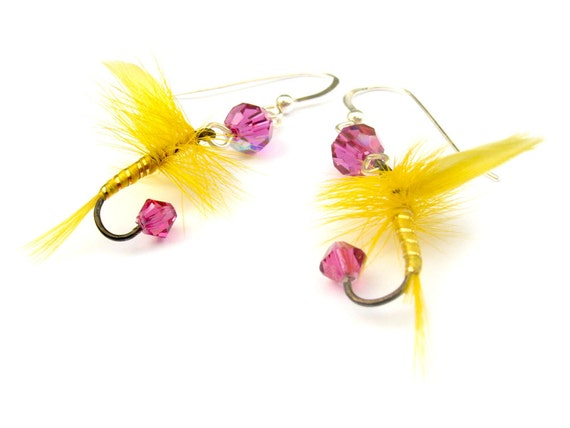 Pink and Yellow Fishing Lure Earrings - Fun Fly Female Fisherman Angler Fish Feather Crystal Sterling Silver Jewelry