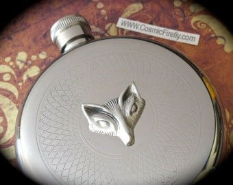 Silver Fox Flask Silver Flask Round Flask Fancy Flask Steampunk Flask Vintage Inspired Reproduction