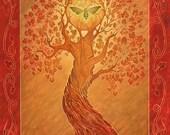 Autumn - 11 x 14 Art Print - Oil Pastel Etching