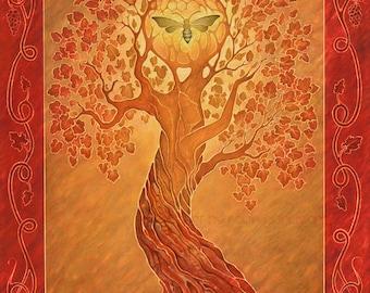Autumn - tree of life - four seasons art - 8x10 art print of oil pastel etching - bee goddess - dryad