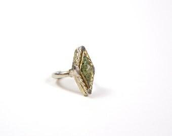 Vintage Jade Chip Mosaic Ring