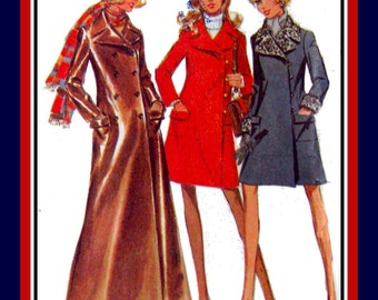 Vintage 1969 -SUPER MOD COAT Collection- Three Styles -Sewing Pattern- Maxi Long Length -Side Wrap Styles- Fur Trim- Pockets- Size 12- Rare