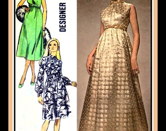 Vintage 1970- Empire Waist Evening Gown -Day Dress- Sewing Pattern- Stand Up Cuff Collar- A Line Skirt-Jeweled Trim  -Size 12- Rare