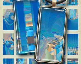 AZURE DOMINO - 1x2 inch images Digital Collage Sheet Printable download Art Cult graphics for glass and resin pendants bezel cabs magnets