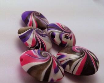 SALE 40% OFF- Handmade Polymer Clay Lentil Swirl Beads-White, Black, Pink & Purple
