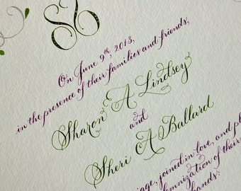 Calligraphy Marriage Certificate with Monogram Deposit