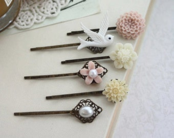 Pink and Ivory Hair Pins Clips, Ivory Mum, White Dove Swallow Bird, Pearl Flower Bobby Hair Pin, Bridal Wedding, Set of Six, 6 Hair Pins Sis
