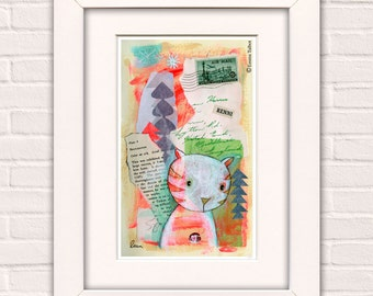 Mixed Media Painting, Mixed Media Art, Mixed Media Art Prints, Wall Art  - 'Renni' by Emma Talbot