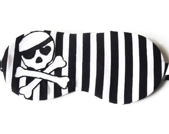 Skull Sleeping Mask, Pirate Mask, Striped Blindfold, Halloween Sleep Mask, Skull and Crossbones, MADE TO ORDER