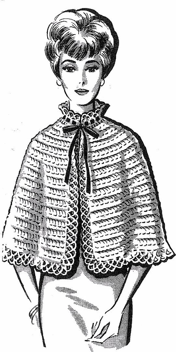 Vintage Crochet Pattern 5375 Cape Capelet Misses Small Medium