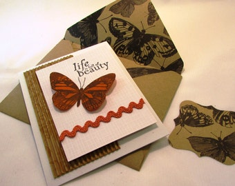 Birthday Greeting Card Life is Full of Beauty Butterfly and Lincoln Quote QueenBeeInspirations