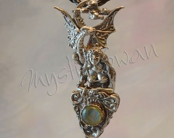 """Fantasy Jewelry """"Magic Foretold""""  Dragon & Maiden Pendant in Sterling Silver With Accent Stone"""