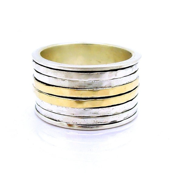 Wide spinner ring with hammered yellow gold & sterling swivel bands