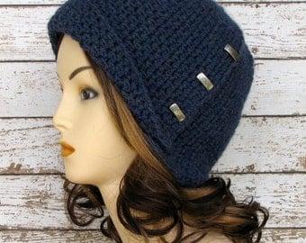 Blue Woman's Wool Blend Cloche, Blue Ladies Flapper Style Winter Hat