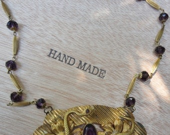 Antique Art Nouveau Amethyst Necklace with Snakes