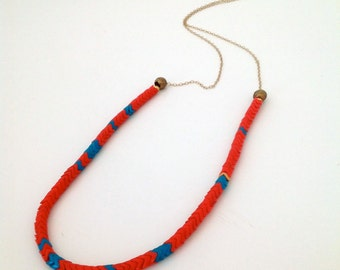 RED and BLUE AFRICAN Snake Herringbone Necklace